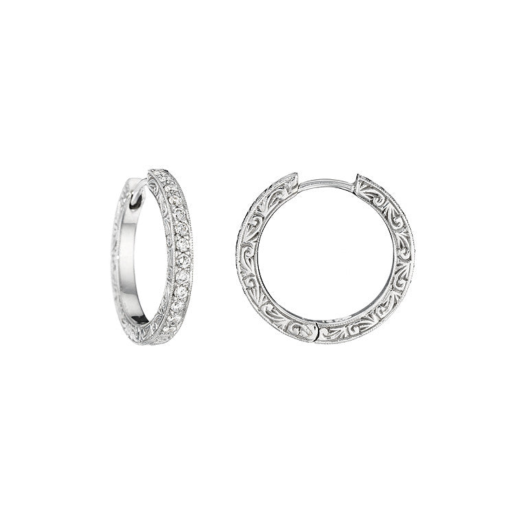 Penny Preville 18kt White Gold and Diamond Hoops