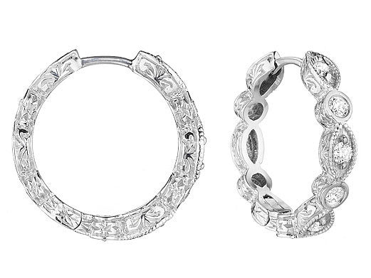 Penny Preville 18 Karat White Gold and Marquis and Round Diamond Hoops