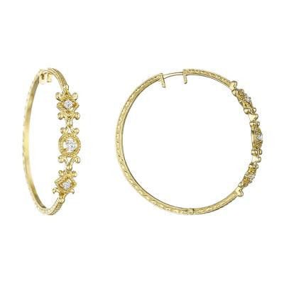 Penny Preville 18kt Yellow Gold Round and Square Hoop with Diamond