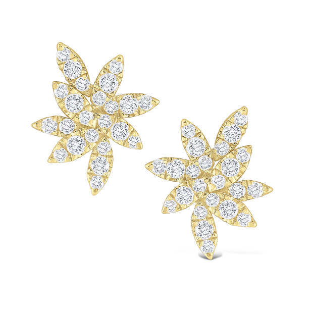 14k Yellow Gold Diamond Cluster Flower Studs