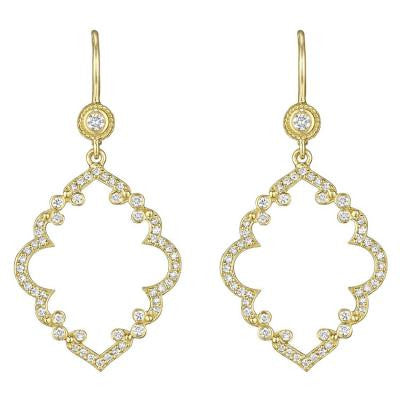 Penny Preville 18kt Yellow Gold all Diamond Arabesque Drop Earrings