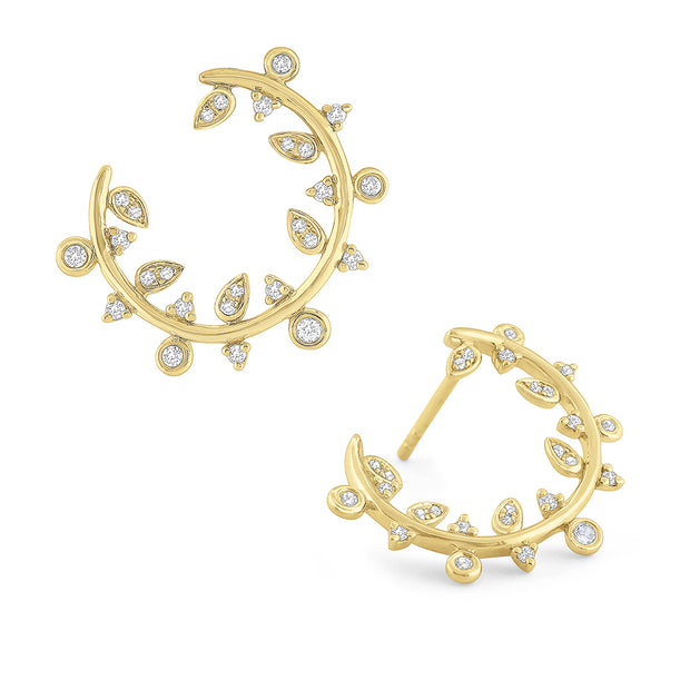 14K Yellow Gold Diamond Leaf Hoops