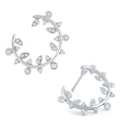 14k White Gold and Diamond Laurel Arc Earrings