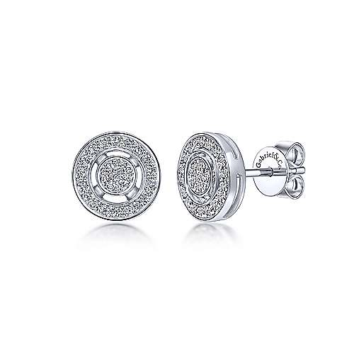 14kt White Gold Circle Diamond Stud Earrings