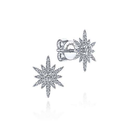 14k White Gold Diamond Starburst Studs