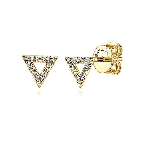 14k Yellow Gold Triangle Diamond Studs