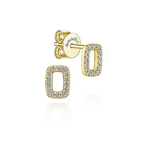 14k Yellow Gold Rectangular Diamond Studs