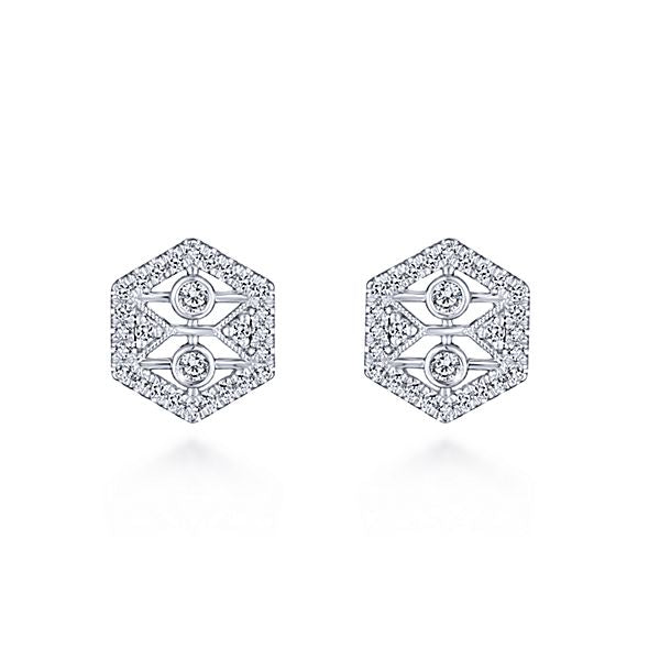 14k White Gold Octagonal Diamond Earrings
