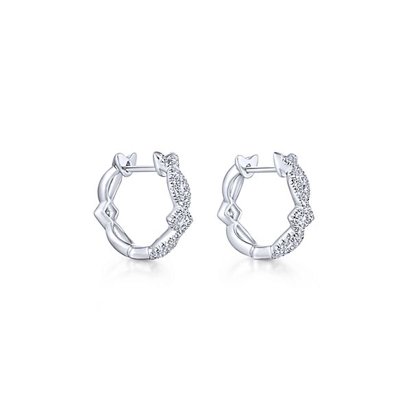 14k White Gold Huggie Diamond Earrings