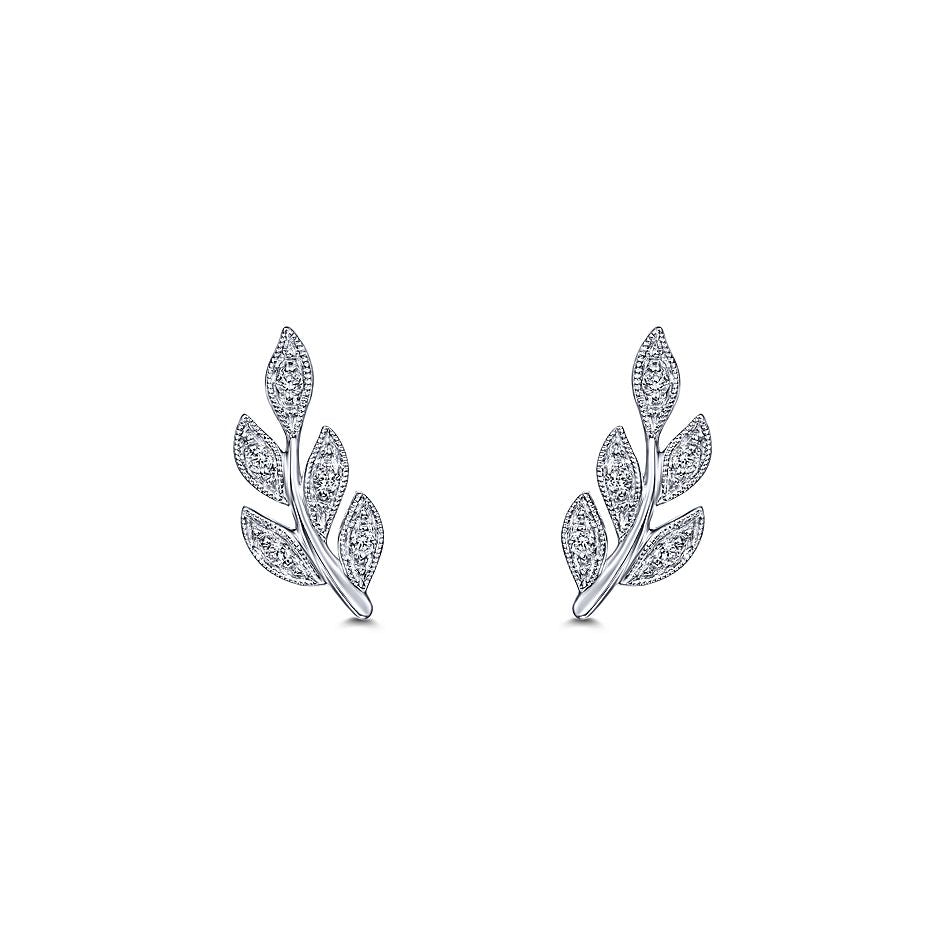 14k White Gold Diamond Leaf Earrings