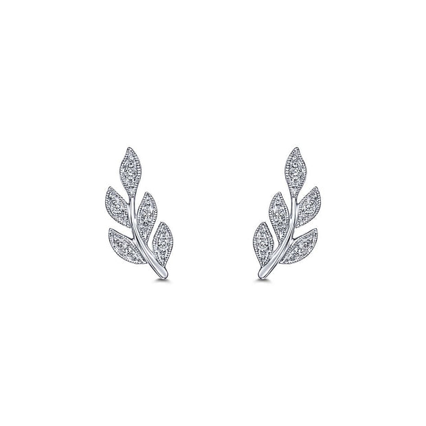 14k White Gold Diamond Leaf Studs