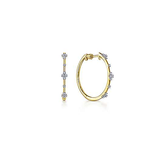 14k Yellow Gold Small Prong Set Diamond Hoop Earrings