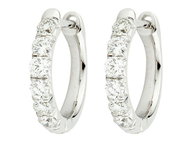 Jude Frances 18k White Gold Diamond Hoops