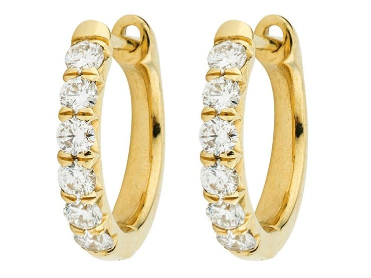 18kt Yellow Gold Diamond Pave Hoop Earring