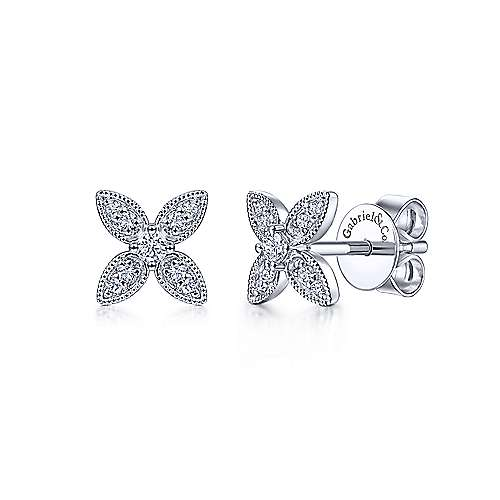 14k White Gold Diamond Flower Studs