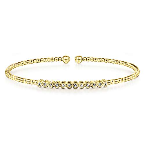 14K Yellow Gold Bezel Set Diamond Bangle