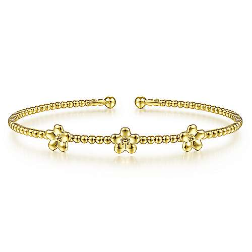 14k Yellow Gold Bead Flower Cuff