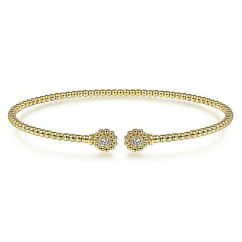 14K Yellow Gold Cuff Bracelet with Diamond Flower Caps