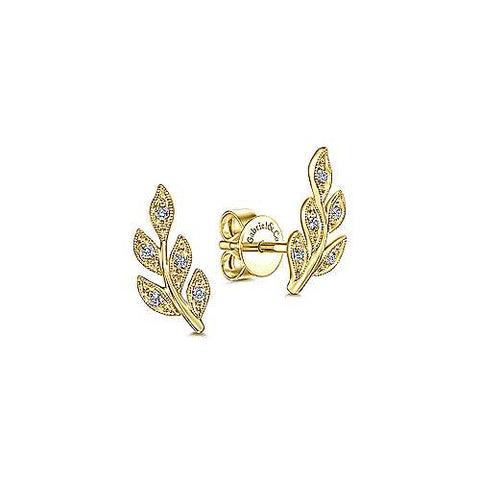 14k Yellow Gold Diamond Leaf Studs