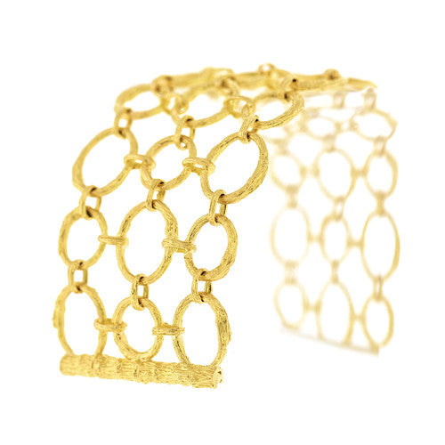 Aaron Henry 19kt Yellow Gold Variegated Woven Open Branch Link Bracelet