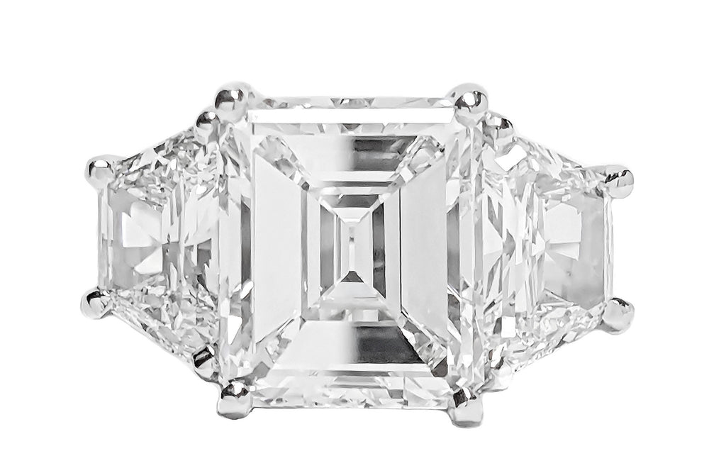 3 Stone Emerald Cut Diamond Ring with Trapezoids
