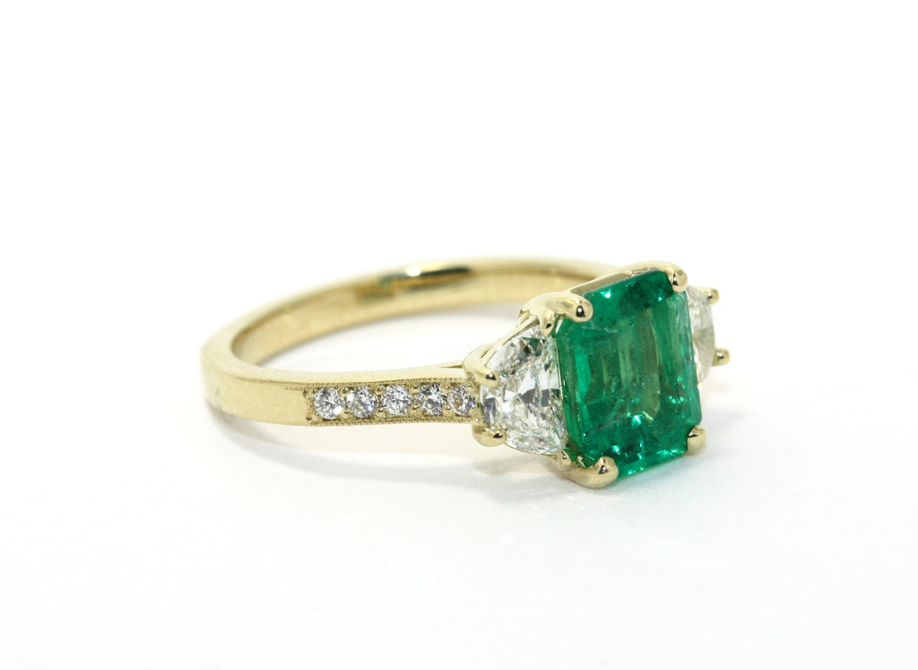 Emerald and Diamond Half Moon Ring