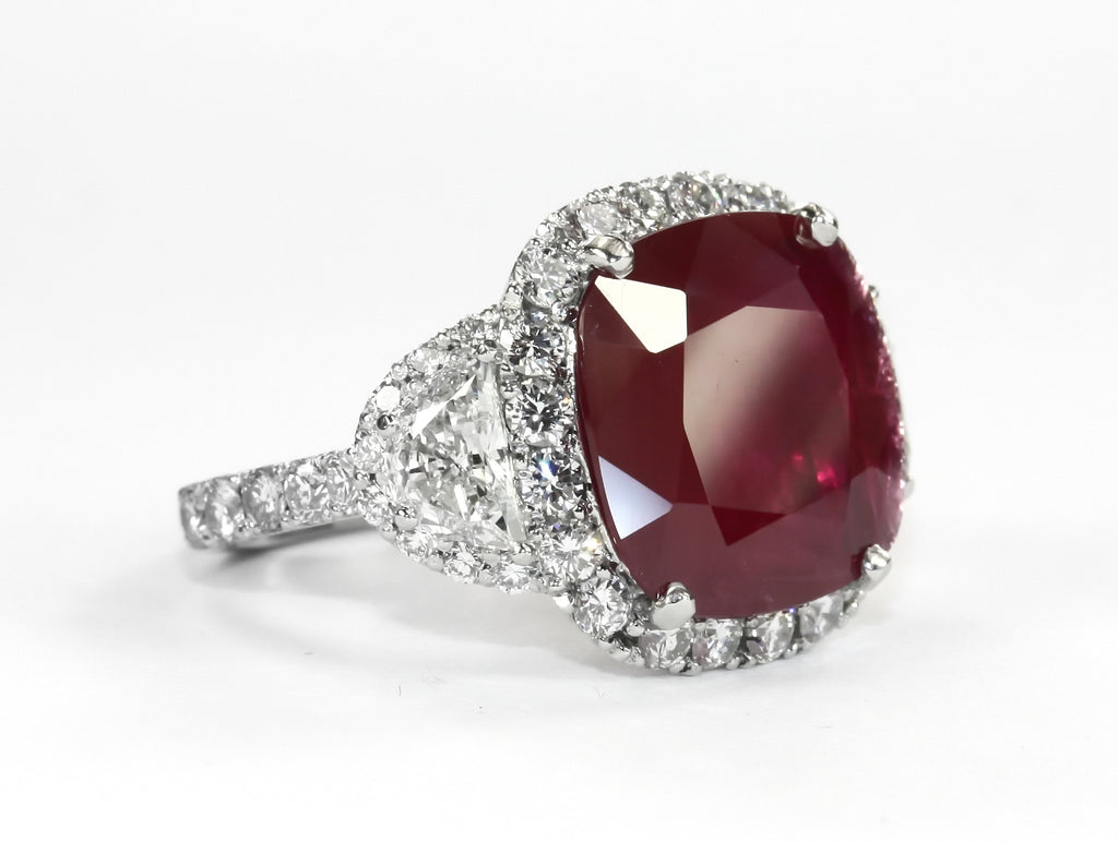 Ruby and Half Moon Diamond and Platinum Ring