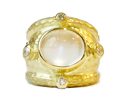 14k Yellow Gold Moonstone and Diamond Ring