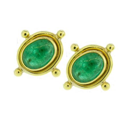 18k Yellow Gold Emerald Cabochon Earrings