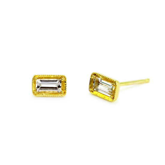 14kt Yellow Gold Leone White Sapphire Stud Earring