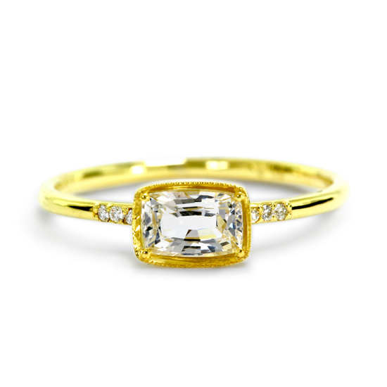 14kt Yellow Gold Karina White Sapphire and Diamond Ring