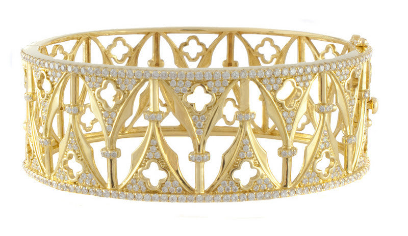 Katie Decker 18kt Yellow Gold Gothic Arch Bracelet with Diamonds