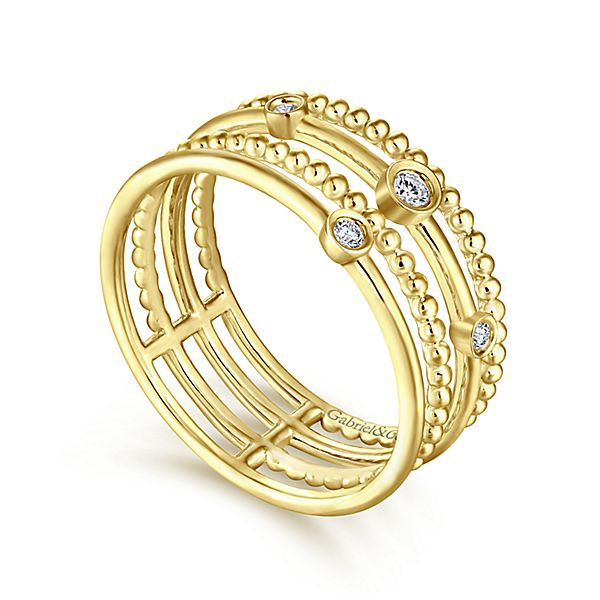 14k Yellow Gold Multi-Band Diamond Ring