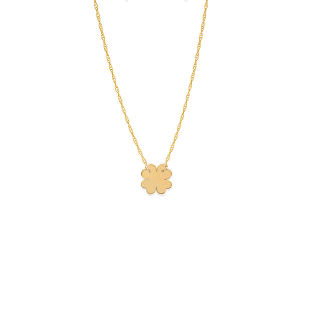 14k Yellow Gold Clover Necklace