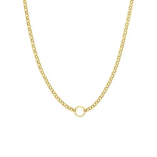 14k Yellow Gold Hollow Link Necklace