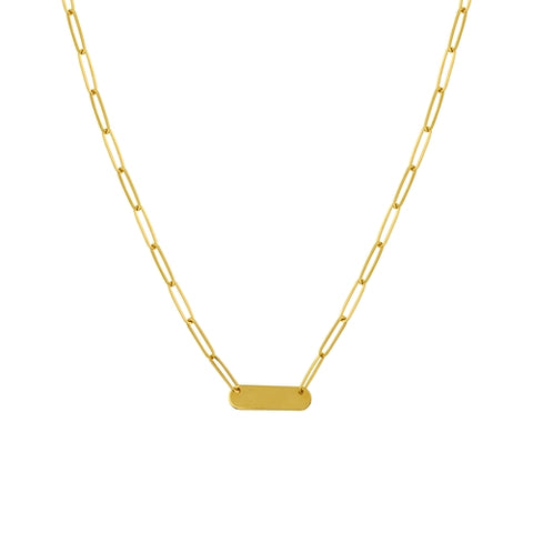 14k Yellow Gold Rounded Corners Bar Link Necklace