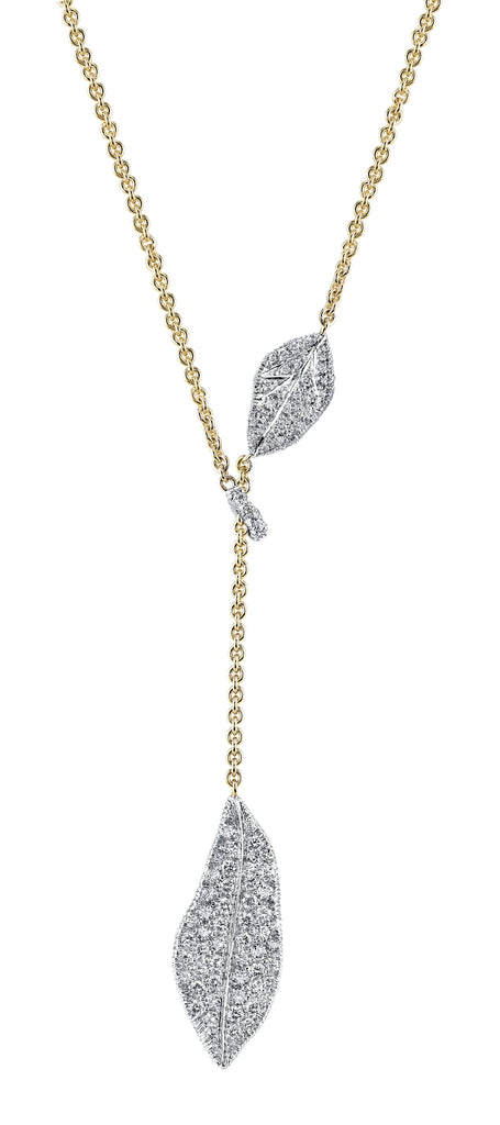 Aaron Henry 18 karat Southern Oak Leaf Diamond Lariat Necklace