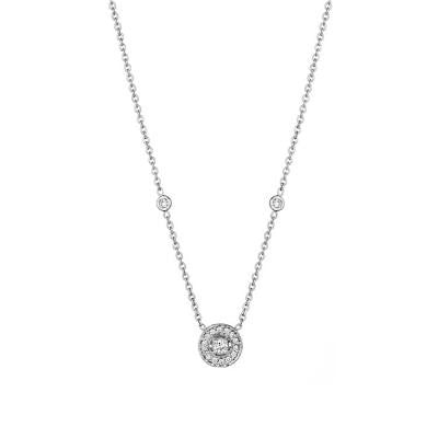 Penny Preville 18kt White Gold Medium Pave Round Necklace with Engraving