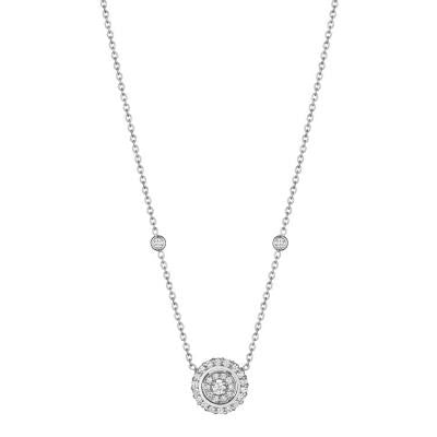 Penny Preville 18kt White Gold Double Circle Diamond Pendant