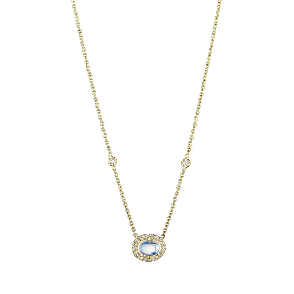 Penny Preville 18kt Yellow Gold Blue Moonstone Cabochon Necklace