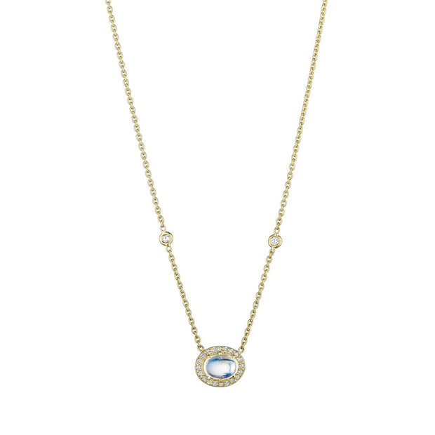 Penny Preville 18k Yellow Gold Blue Moonstone Cabochon Necklace