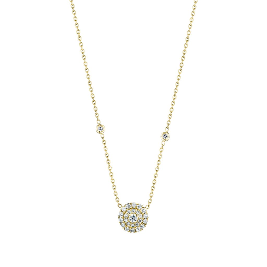 Penny Preville 18kt Yellow Gold Pave Round Halo Necklace