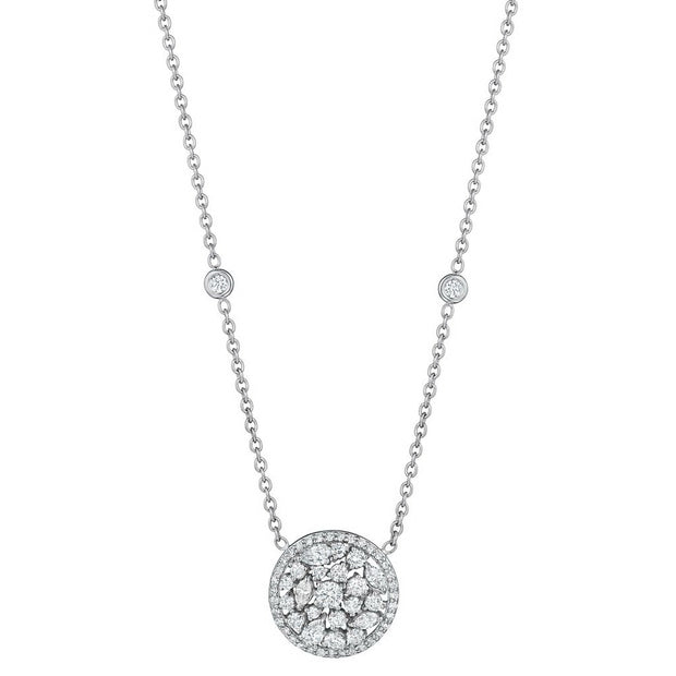 Penny Preville 18k White Gold Diamond Cluster Necklace