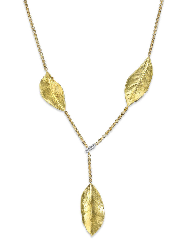 Aaron Henry 18 karat Southern Oak Leaf Necklace with diamond lariat