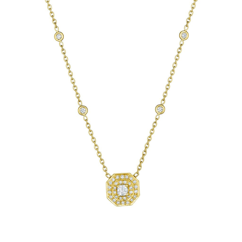 Penny Preville 18kt Yellow Gold Asscher-Cut Diamond Pendant
