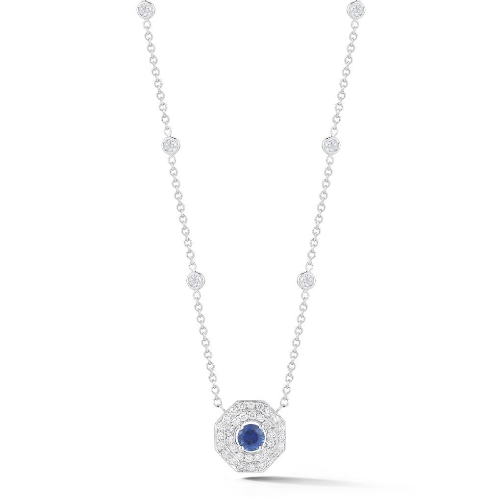 Penny Preville Octagon Diamond Necklace with Round Blue Sapphire Center
