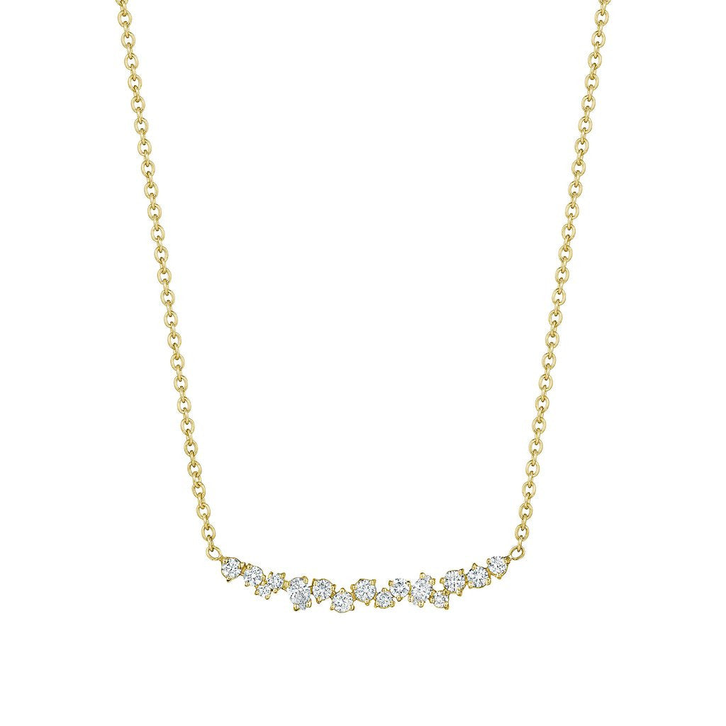Penny Preville 18kt Yellow Gold Star Dust Cluster Bar Necklace