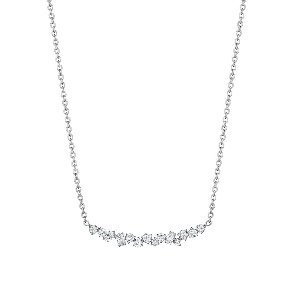 Penny Preville 18kt White Gold Star Dust Cluster Bar Necklace