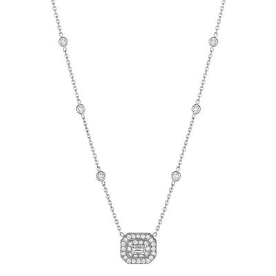 Penny Preville 18kt White Gold Pave Emerald Cut Diamond Pendant on chain