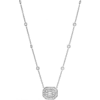 Penny Preville 18kt White Gold Pave Emerald Shape Necklace with Diamonds